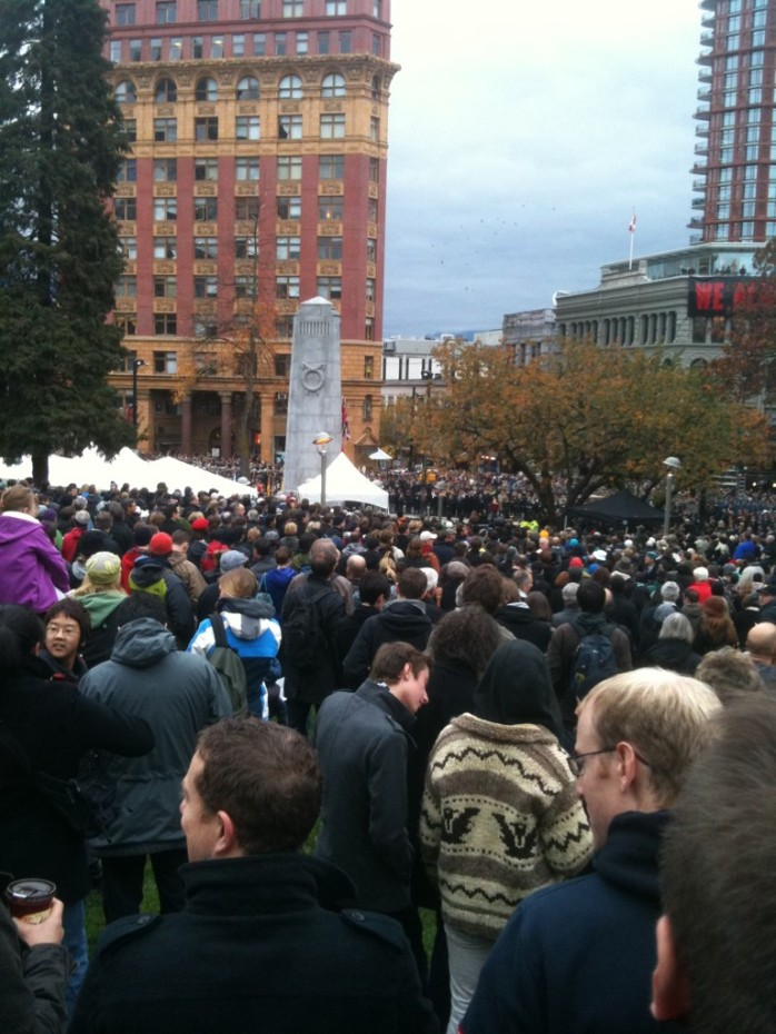Crowd at Victory Square in Vancouver, BC