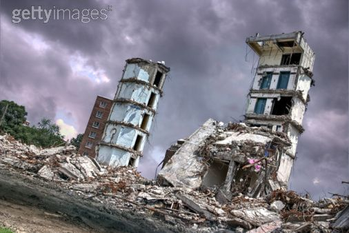 Damage buildings by © 2009 Charles Bodi